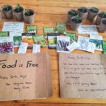 """Sign reading """"food is free"""" with seedlings and seeds being given away"""